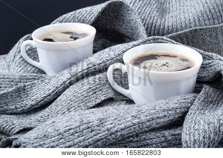 Two Cups Of Hot Coffee In The Scarf Close-up