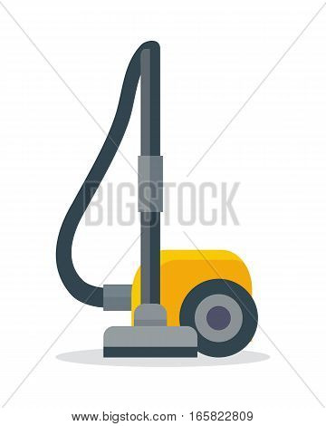 Vacuum cleaner icon isolated on white. Electrical vacuum cleaner hoover. Equipment for house cleaning tool device. Domestic cleaning machine symbol sign in flat style. Vacuum sweeper. Vector poster