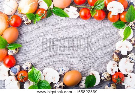 Top View Of Food Ingredients For Cooking As A Frame