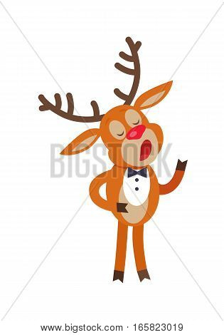 Deer singing song isolated on white. Reindeer in suit sing carols. Deer singer in flat style design. Cute cartoon mammal posing for New Year or Christmas Greeting card. Deer in bow. Vector illustration