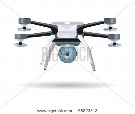 Flying drones vector illustration. Flat design. Drone with four propellers and mounted camera. Modern technology. Unmanned aerial vehicle. For store ad, spy concepts, app icons. On white background