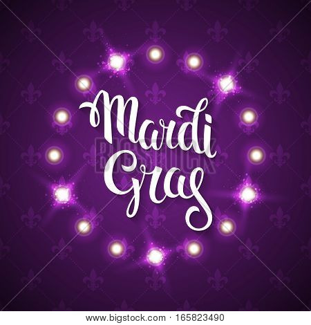 Mardi gras logo. Vector greeting card with hand drawn lettering and fat tuesday symbols.