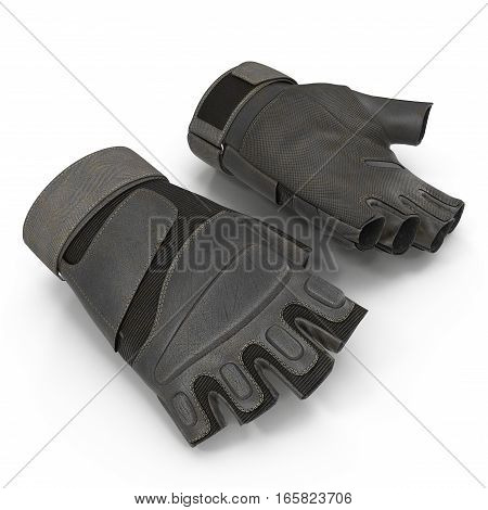 Outdoor Blackhawk short finger gloves US Soldier on white background. 3D illustration