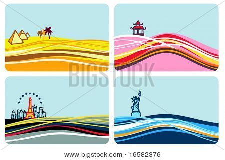 World destinations - illustrations - set -