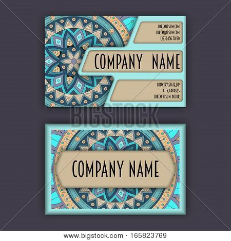 Vector Business Card Design Template With Ornamental Geometric Mandala Pattern. Vintage Decorative E