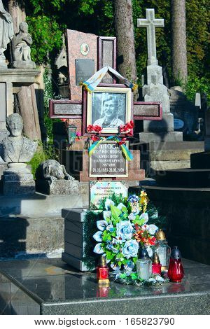 Lviv - circa August 2013  / Ukraine: grave of famous Ukrainian composer and Igor Bilozir on Lychakiv Cemetery in Lviv. circa August 2013 in Lviv, Ukraine.