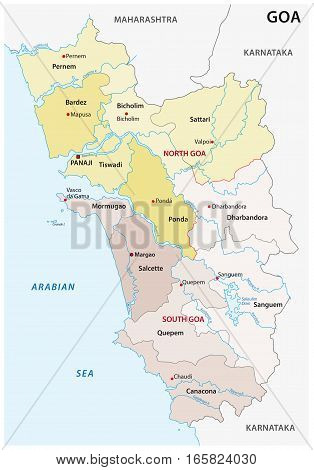 Administrative and political vector map of the Indian state of Goa