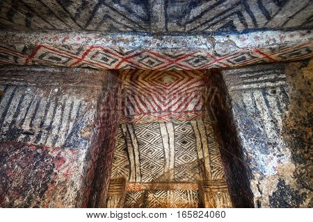 pre-columbian tomb with painted walls and ceilings in Colombia from an unknown culture