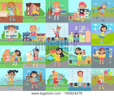 Little girl leisure or hobby vector concept set. Cute happy child reading, go school, singing, painting, playing with animal, dancing, skating, eating sweets, exploring nature, go in for sports vector