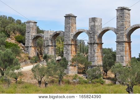 historic Moria aqueduct on island Lesbos in Greece