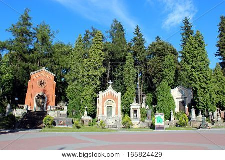Lviv - circa August 2013  / Ukraine: Lychakiv Cemetery with chapel and graves in Lviv. circa August 2013 in Lviv, Ukraine.