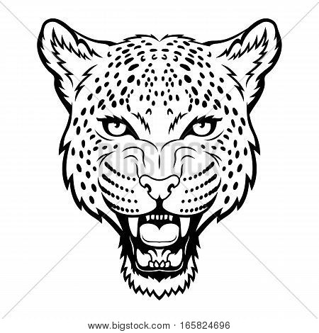 A Leopard head logo. This is vector illustration ideal for a mascot and tattoo or T-shirt graphic.