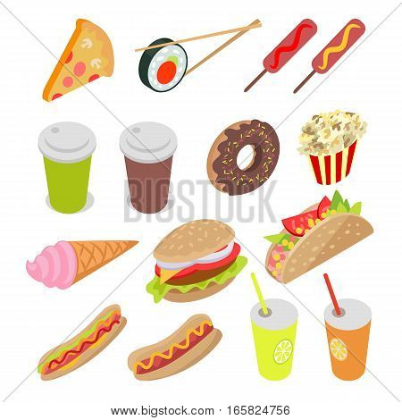Collection of meal, food and drinks. Vector illustration include pizza, sushi, sausages, tea, coffee, donut, ice-cream, popcorn, cheeseburger, hot dogs juice Demonstration unhealthy food Flat style