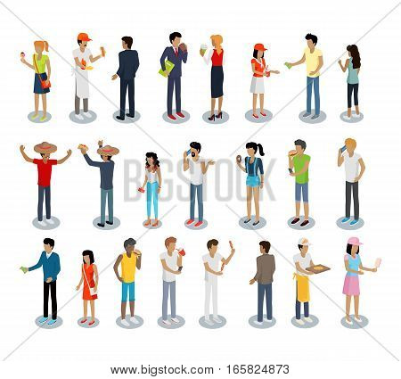 Set of people buying and selling drinks. Street food consumption, deivery concept. Sellers and consumers. Women and men buy pizza, hot dog, sausages, ice cream, coffee, tea. Vector illustration