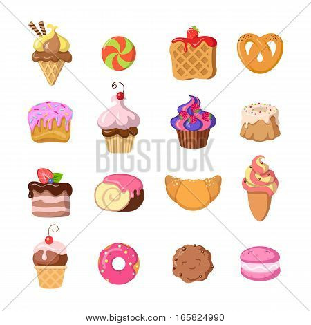 Set of funny sweets in flat design. Ice cream, candy, waffle, pretzels, cake, cupcake, cookie, doughnut, croissant, macaroons Colorful confectionery bake cartoon illustrations Vector tasty goodies