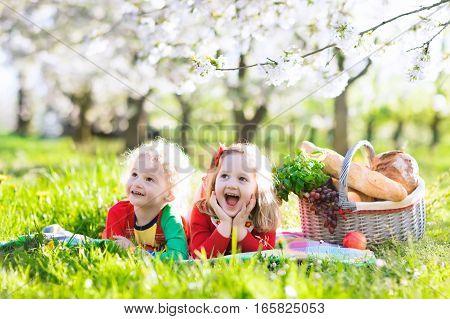 Kids Having Picnic In Blooming Garden