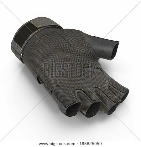 Outdoor Half Finger Assault Soldier Glove on white background. 3D illustration