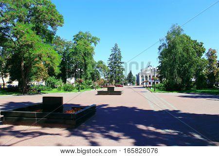 Chernihiv / Ukraine. 28 August 2016: area in Chernihiv town with beautiful trees and paths in summer. 28 August 2016 in Chernihiv / Ukraine.