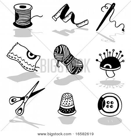 sewing objects - illustrations - icons set -