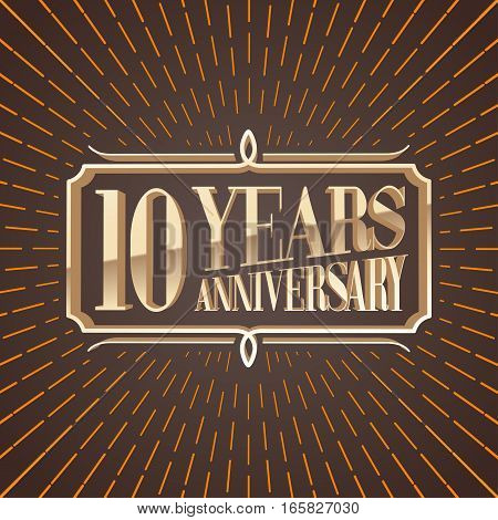 10 years anniversary vector illustration banner icon symbol sign logo invitation. Graphic design element for 10th anniversary birthday card decoration