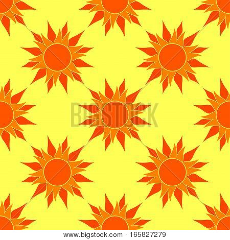 Sunny Orange Seamless Pattern. Orange Sun over yellow background. Pattern for your sunny design.