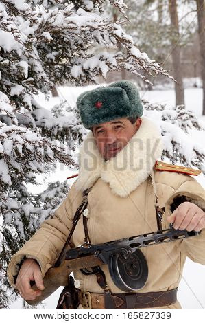 Officer the defender of Stalingrad in winter regimentals reconstruction