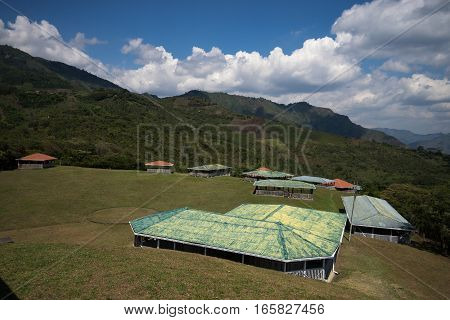 protective roofs at the ancient burial ground in Tierradentro Colombia