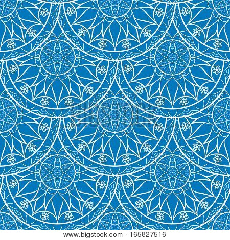 Seamless Blue Floral Mandala Pattern. Seamless pattern for your designs, invitation card, yoga, meditation, astrology, fabric and other wrapped projects.