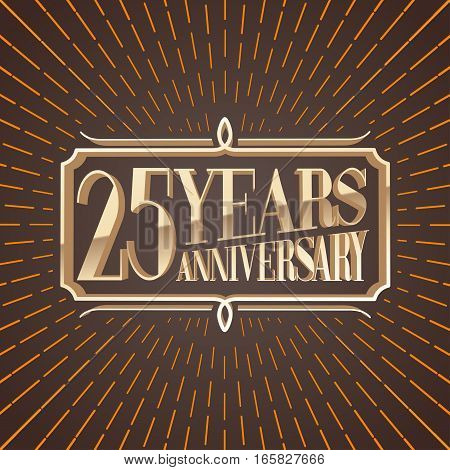 25 years anniversary vector illustration icon logo. Decorative graphic design element for 25th anniversary birthday greeting card