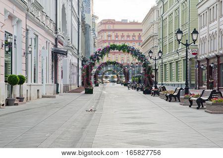Pedestrian Street In City At Summer