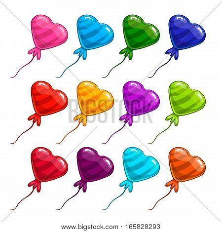 Big set with balloon in form heart. Cartoon illustration