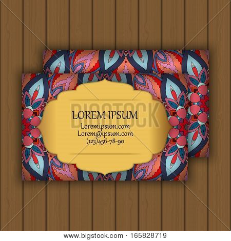 Vector Vintage Visiting Or Business Card Set. Floral Mandala Pattern And Ornaments.