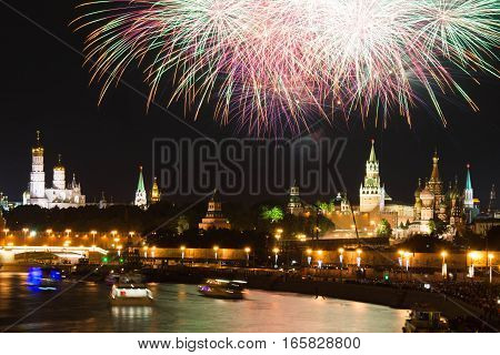 fireworks at night in city center over the Kremlin