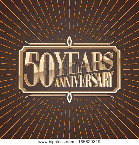 50 years anniversary vector illustration icon logo. Decorative graphic design element for 50th anniversary birthday greeting card