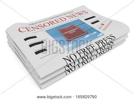 Censorship News Concept: Pile of Newspapers 3d illustration on white background