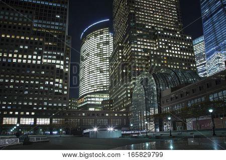 new york manhattan skyscrapers cityscape glass and concrete