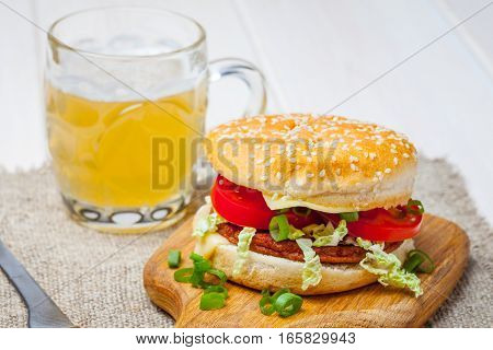 Homemade Hamburger With Fresh Vegetables.