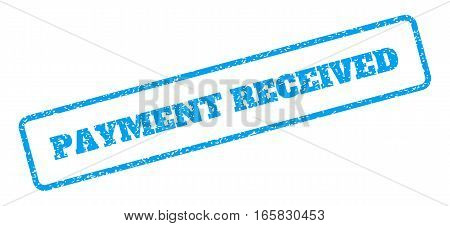 Blue rubber seal stamp with Payment Received text. Vector tag inside rounded rectangular frame. Grunge design and scratched texture for watermark labels. Inclined emblem on a white background.