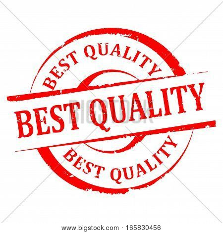 Scratched round red stamp with the word - the best quality - vector
