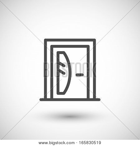 Door line icon isolated on grey. Vector illustration