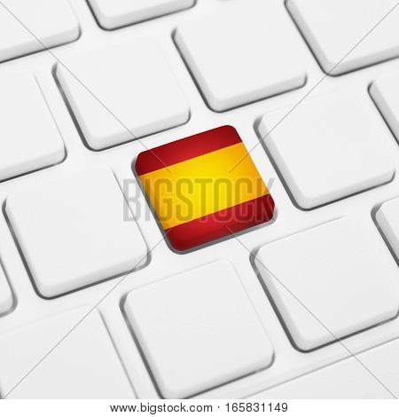 Spanish Language Or Spain Web Concept. National Flag Button Or Key On Keyboard