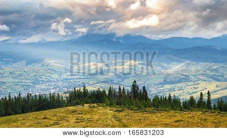 Picturesque Carpathian mountains landscape at height Ukraine