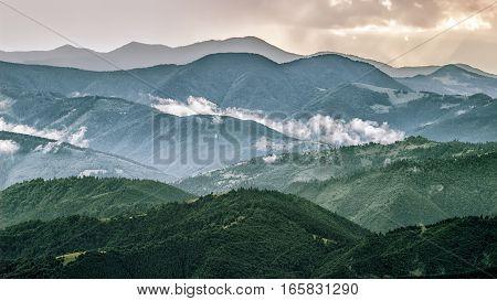 Carpathian mountains landscape view of the mountain ridges Ukraine