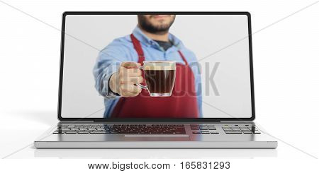 3D Rendering Man Offering Coffee Through A Laptop Screen