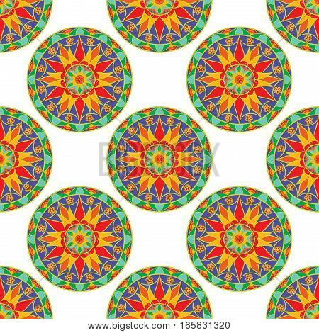 Seamless Floral Mandala Pattern. Seamless pattern for your designs, invitation card, yoga, meditation, astrology and other wrapped projects. Fabric Mandala Pattern.