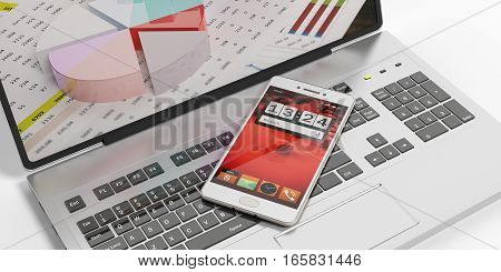 3D Rendering Smartphone On A Laptop