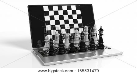 3D Rendering Chess On Laptop Screen