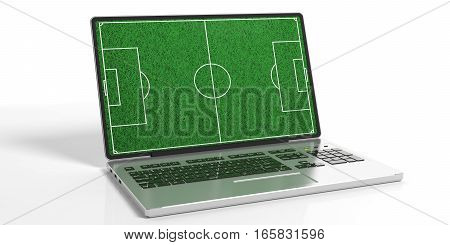 3D Rendering Soccerball Field On A Laptop