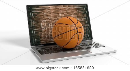 3D Rendering Basket Ball On A Laptop