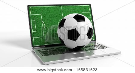 3D Rendering Soccer Ball On A Laptop